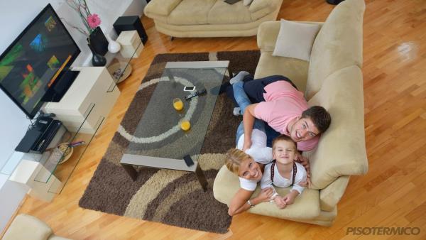 Como o calor gerado pelo piso aquecido fica na área de maior aproveitamento?